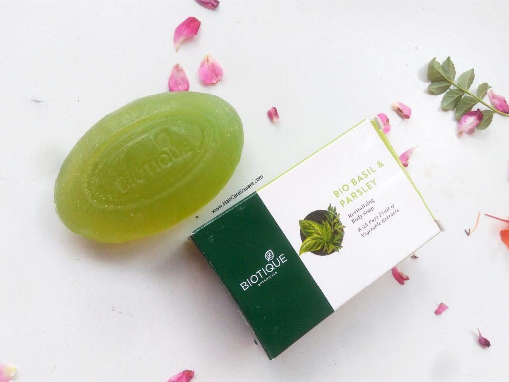 biotique advanced ayurveda bio basil parsleyrevitalizing body soap review