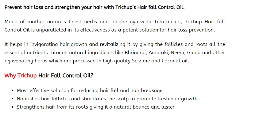 trichup hair oil product claims