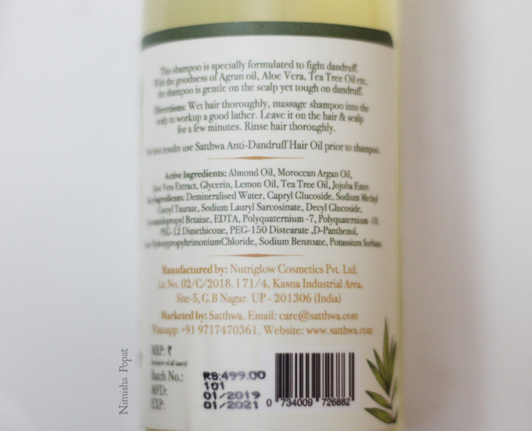 satthwa anti dandruff shampoo review